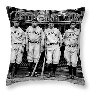 Babe Ruth Lou Gehrig And Joe Dimaggio Throw Pillow by Marvin Blaine