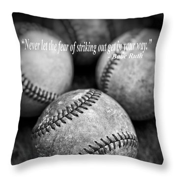 Babe Ruth Quote Throw Pillow by Edward Fielding