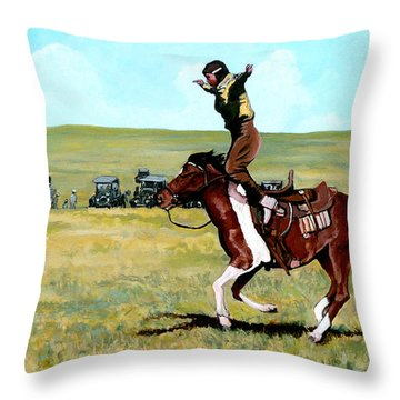 Babette Rides Again Throw Pillow by Tom Roderick