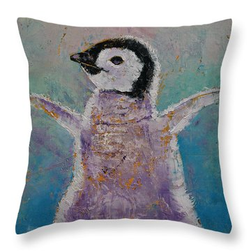 Baby Penguin Throw Pillow by Michael Creese