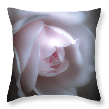 Baby Pink Rose Throw Pillow by Karen Lewis