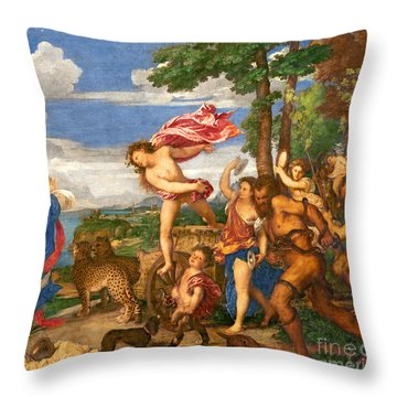 Bacchus And Ariadne Throw Pillow by Titian