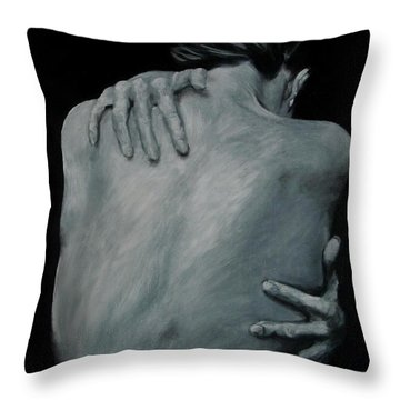 Back Of Naked Woman Throw Pillow by Jindra Noewi