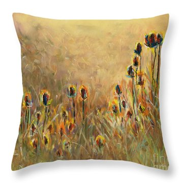 Backlit Thistle Throw Pillow by Frances Marino