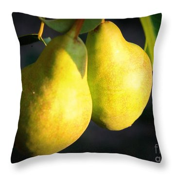 Backyard Garden Series - Two Pears Throw Pillow by Carol Groenen