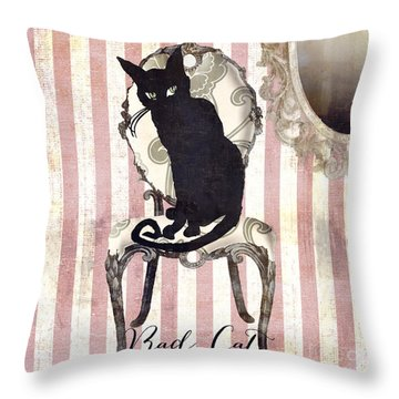 Bad Cat II Throw Pillow by Mindy Sommers