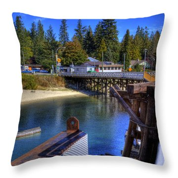 Balfour Bc Docks And Ferry  Throw Pillow by Lee  Santa