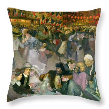 Ball On The 14th July Throw Pillow by Theophile Alexandre Steinlen