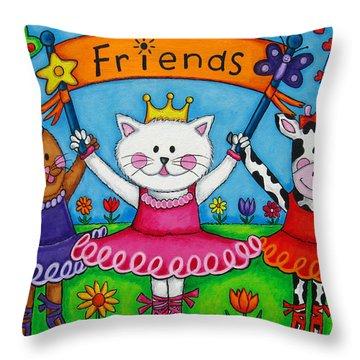 Ballerina Friends Throw Pillow by Lisa  Lorenz