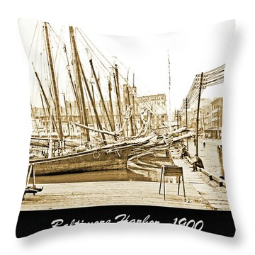 Throw Pillow featuring the photograph Baltimore Harbor 1900 Vintage Photograph by A Gurmankin