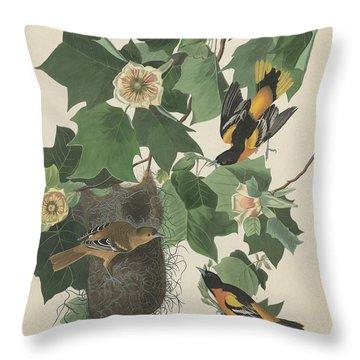 Baltimore Oriole Throw Pillow by John James Audubon