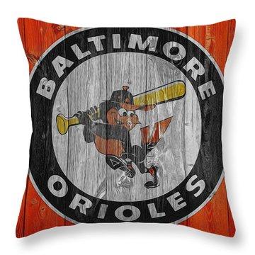 Baltimore Orioles Graphic Barn Door Throw Pillow by Dan Sproul