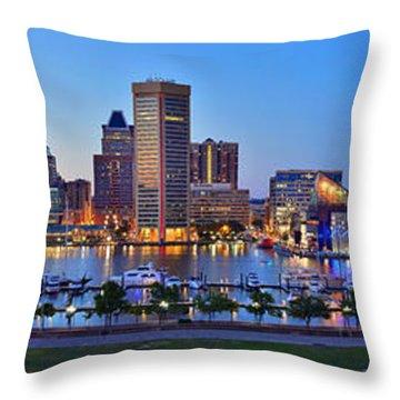 Baltimore Skyline Inner Harbor Panorama At Dusk Throw Pillow by Jon Holiday