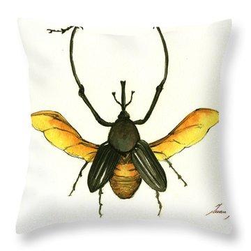 Bamboo Beetle Throw Pillow by Juan Bosco