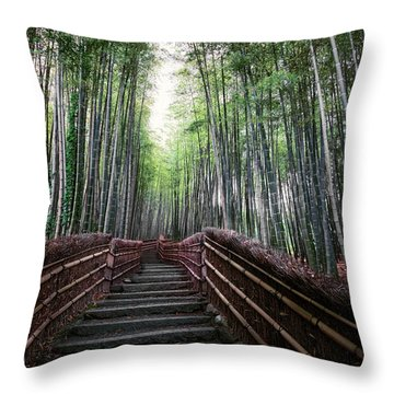 Bamboo Forest Of Japan Throw Pillow by Daniel Hagerman
