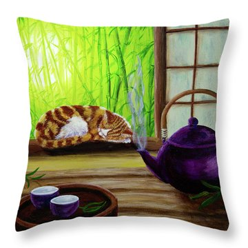 Bamboo Morning Tea Throw Pillow by Laura Iverson