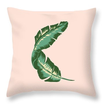 Banana Leaf Square Print Throw Pillow by Lauren Amelia Hughes