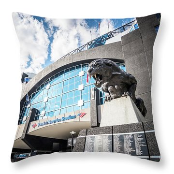 Bank Of America Stadium Carolina Panthers Photo Throw Pillow by Paul Velgos