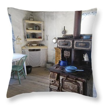 Bannack Ghost Town  Kitchen And Stove - Montana Territory Throw Pillow by Daniel Hagerman