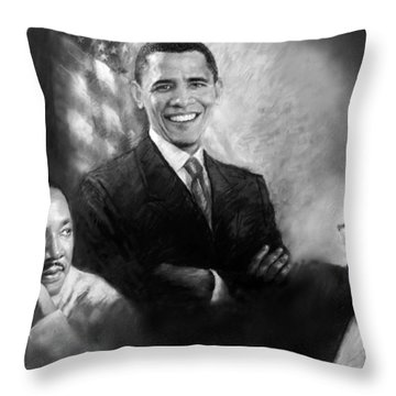 Barack Obama Martin Luther King Jr And Malcolm X Throw Pillow by Ylli Haruni
