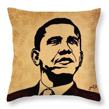 Barack Obama Original Coffee Painting Throw Pillow by Georgeta  Blanaru