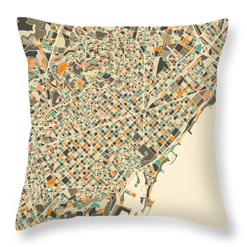 Barcelona Map Throw Pillow by Jazzberry Blue