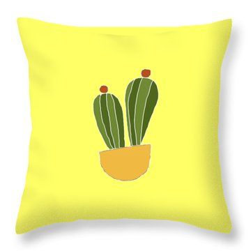 Barrel Cactus Throw Pillow by Priscilla Wolfe