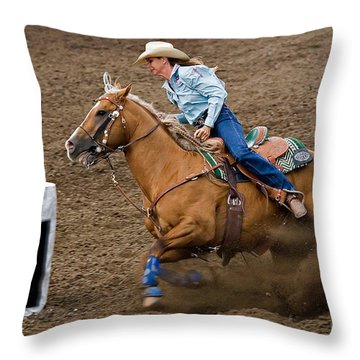 Barrel Racing Throw Pillow by Louise Heusinkveld