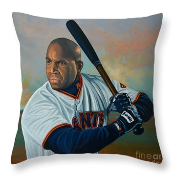 Barry Bonds Throw Pillow by Paul Meijering