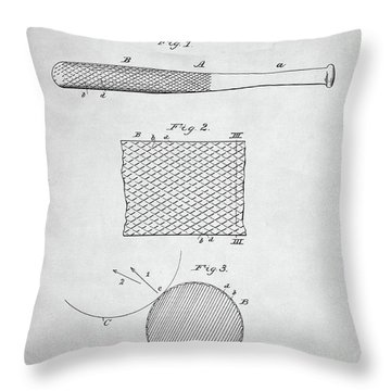 Baseball Bat Patent Throw Pillow by Taylan Soyturk