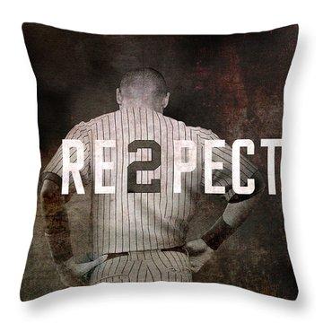 Baseball - Derek Jeter Throw Pillow by Joann Vitali