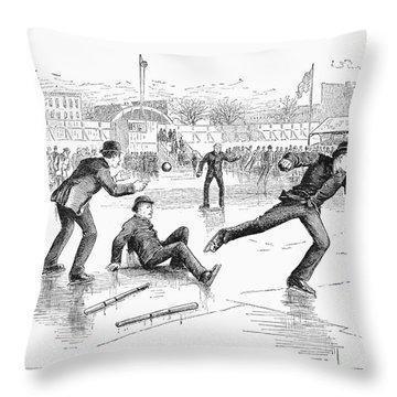Baseball On Ice, 1884 Throw Pillow by Granger