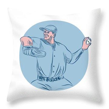 Baseball Pitcher Throwing Ball Circle Drawing Throw Pillow by Aloysius Patrimonio