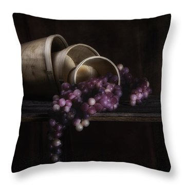 Basket Of Grapes Still Life Throw Pillow by Tom Mc Nemar