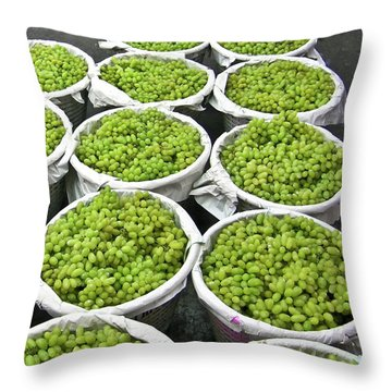 Baskets Of White Grapes Throw Pillow by Douglas Barnett