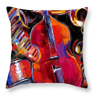Bass And Friends Throw Pillow by Debra Hurd