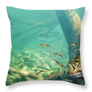Bass Lake Throw Pillow by JQ Licensing