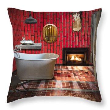 Bathroom Retro Style Throw Pillow by Setsiri Silapasuwanchai