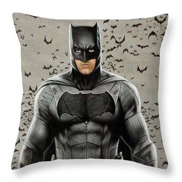 Batman Ben Affleck Throw Pillow by David Dias