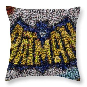 Batman Bottle Cap Mosaic Throw Pillow by Paul Van Scott