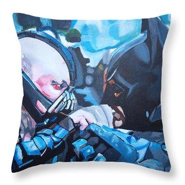 Batman Vs Bane Throw Pillow by Martin Putsey
