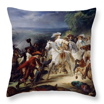 Battle Of Rocroy Throw Pillow by Francois Joseph Heim