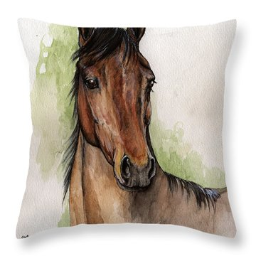 Bay Horse Portrait Watercolor Painting 02 2013 Throw Pillow by Angel  Tarantella