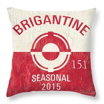 Beach Badge Brigantine Throw Pillow by Debbie DeWitt