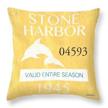 Beach Badge Stone Harbor Throw Pillow by Debbie DeWitt