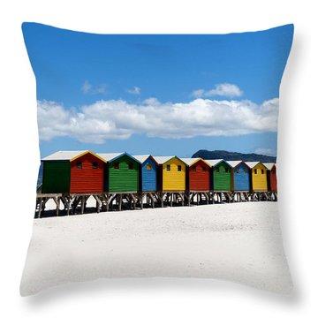 Beach Cabins  Throw Pillow by Fabrizio Troiani
