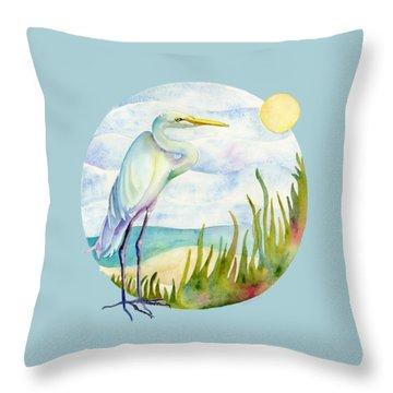 Beach Heron Throw Pillow by Amy Kirkpatrick