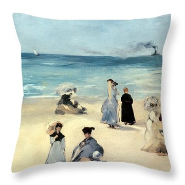Beach Scene Throw Pillow by Edouard Manet
