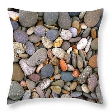 Beach Stones And Pebbles Throw Pillow by Sophie De Roumanie