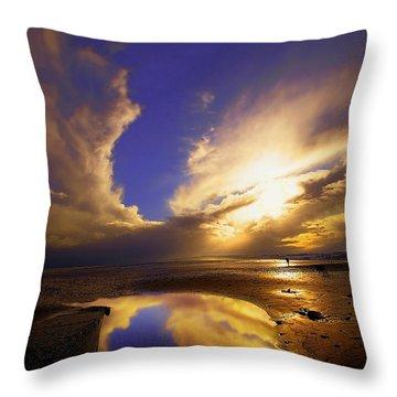Beach Sunset Throw Pillow by Svetlana Sewell